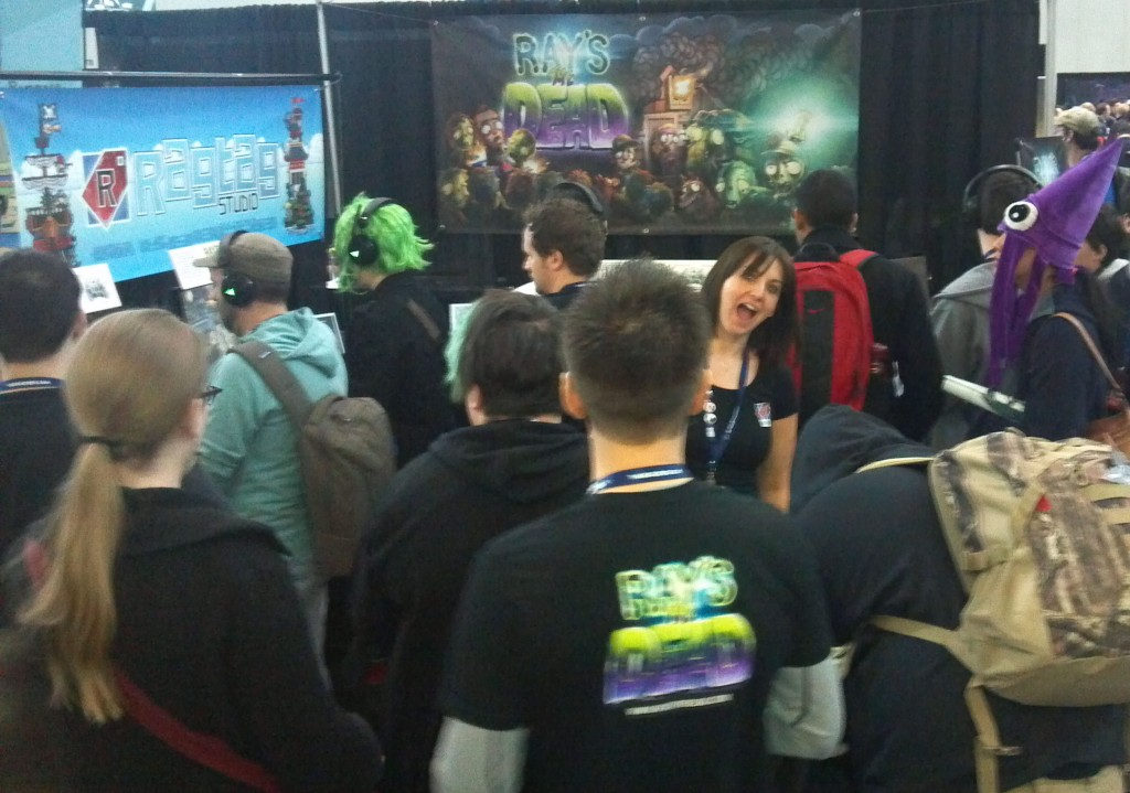 Tracy is buried in our crowded booth!